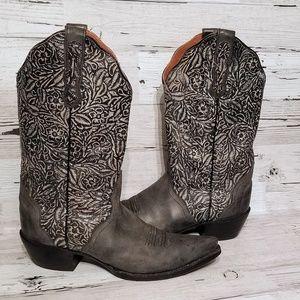 Nocona grey cowboy boots sz 7.5